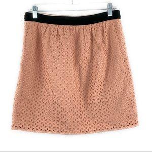 Loft Cutout Eyelet Pale Pink Mini Skirt